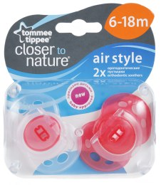 "Ортодонтична соска ""Close to nature"", Air style, червона, 6-18 міс., 2 шт. - Tommee Tippee"