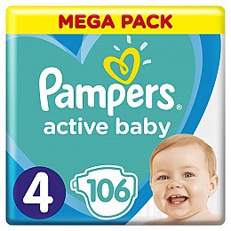 Подгузники Pampers Active Baby 4 (9-14 кг), 106 шт. - Pampers