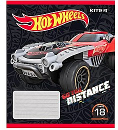 "Тетрадь школьная в линию ""Hot Wheels Go The Distance"", 18 листов, вариант 1 - Kite"
