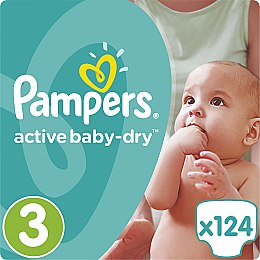 Подгузник Pampers Active Baby-Dry 3 (5-9кг) 124шт - Pampers