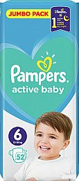 Подгузники Pampers Active Baby 6 (13-18 кг), 52шт - Pampers