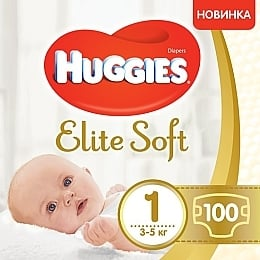 "Подгузники ""Elite Soft Newborn"" 1, 3-5 кг, 100 шт - Huggies"