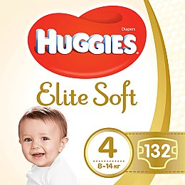 "Подгузники ""Elite Soft"" 4 (8-14кг, 132 шт) Box - Huggies"