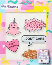 "Набор наклеек на ранец ""Patch Stiker"", I Don't Care - Yes Weekend"