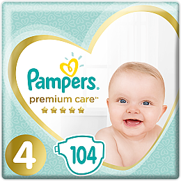 Подгузники Pampers Premium Care. Размер 4 (Maxi), 9-14кг, 104 штук - Pampers