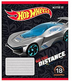 "Тетрадь школьная в линию ""Hot Wheels Go The Distance"", 18 листов, вариант 4 - Kite"
