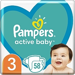 Подгузники Pampers Active Baby 3 (6-10 кг), 58шт - Pampers