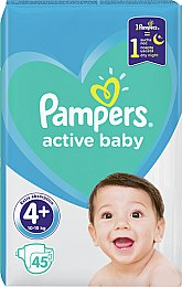 Подгузники Pampers Active Baby 4+ (10-15 кг), 45шт - Pampers