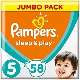 Подгузники Sleep & Play Размер 5 (Junior) 11-16 кг, 58шт - Pampers