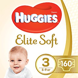 "Подгузники ""Elite Soft"" 3 (5-9кг, 160 шт) Box - Huggies"