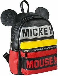 Рюкзак Casual Fashion Faux-Leather Black/Red Mickey Mouse Backpack - Cerda